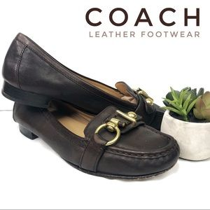 Coach Leather Slip In Penny Loafer Flats